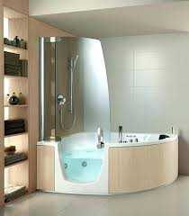 walkin shower tubs cream veneer with white acrylic corner whirlpool tub having glass door panel in baths walk walk in bathtub shower curtain