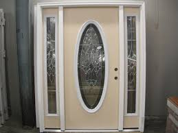 full lite oval decorative entry door w 2 sidelight glass accents