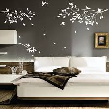 Decorations:White Tree Wall Art Decoration Ideas On Grey Wall Painting  Lovely Interior Design Wall