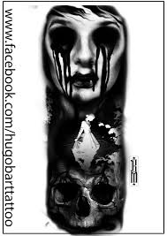 Zombie Skull Woman Face Scarry Digital Tatoo Design Blood Black And