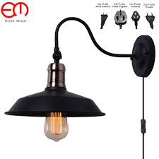 Vintage Plug In Lights Us 23 71 30 Off Adjustable Angle Retro Vintage Ancient Vintage Led Wall Lamps Personalized Umberlla Black Shade Antique Wall Light Zxx0002 In Led