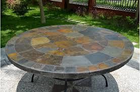 125 160cm outdoor garden round slate mosaic table oceane
