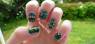 Tribal Nail Art In Blue, Green & Yellow