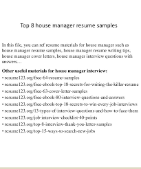 Download Household Manager Resume