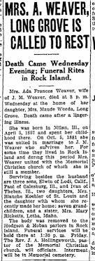 1927 Obit Ada Weaver - Newspapers.com