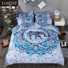 bonenjoy blue and white bedding set boho duvet covers elephant indian style reactive printed with pillow