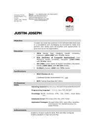 Resume Format For Mca Student It Resume Cover Letter Sample