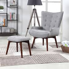 gray wingback chair. Scott Living Midcentury Light Grey Wingback Chair With Ottoman Gray T