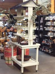 ... rustic wood tiered retail market shelves display rack cart with roof  canopy ...