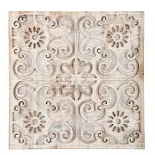 whitewash carved fl wood wall decor
