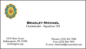 Business Cards American Legion Flag Emblem