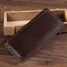 mens genuine leather long bifold wallet credit card holder coin purse soft new