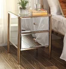 Mirrored Furniture Nevada Mirrored Copper Frame Bedside Table Mirror Furniture
