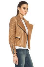 image 4 of barbara bui quilted lambskin moto jacket in tan