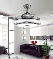 invisible retractable blades chrome ceiling fan 42 inch modern simple fan chandelier with lights for living room bedroom home ceiling light canada 2019 from
