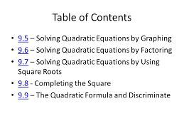 table of contents 9 5 solving quadratic equations by graphing