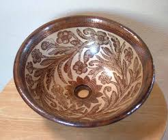 sink bowls for bathrooms. Small Hand Painted Copper Sink Gold On Dark Patina Finish 15.1/2\ Bowls For Bathrooms