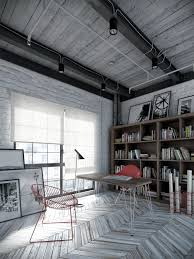 Image Concrete Industrial Home Office Design Livinator The Industrial Style Home Office