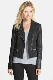 image of michael michael kors leather pinstripe moto jacket