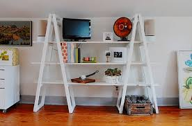 View in gallery Vintage ladder bookshelf unit in white