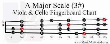 Cello Notes Chart A Major Scale Charts For Violin Viola Cello And Double Bass