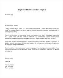 Sample Employment Reference Letter Employment Reference Letters