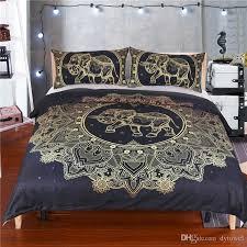 boho elephant bedding set mandala comforter bed set bohemian duvet cover set golden flower black bedclothes comforters for beds king size duvet from