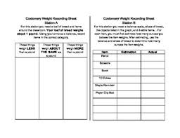 Weight Measurement Station Recording Sheets By Michelle Cheripka