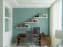 Decorating Office Ideas Blue Wall Bookshelving Home Office Decorating