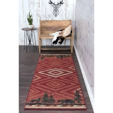 wildlife novelty lodge red area rug color block pines