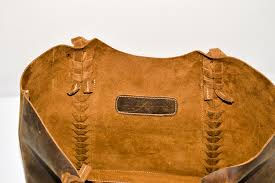 leather baseball stitch tote