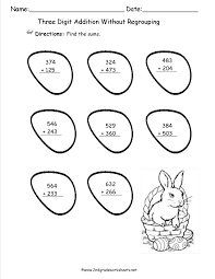 easterthreedigitaddwithoutregroup three digit subtraction with regrouping worksheets 2nd grade & 3 on subtracting across zeros printable directins