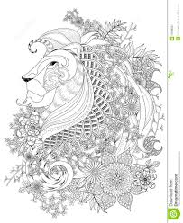 Lion Adult Coloring Page Stock Vector