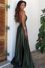 Simple Elegant Backless Long Split Simple Elegant V Neck Prom Dress_prom