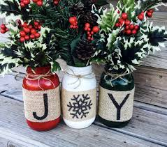 Mason Jar Projects Christmas Holiday Burlap Mason Jars Set Of 3 Christmas Ideas At