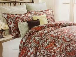 bella lux full queen paisley duvet cover set red orange beige 2