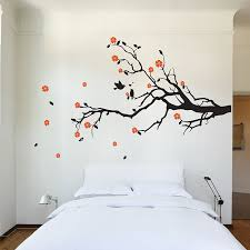 cherry blossom tree branch with birds vinyl wall art decal wd 0159