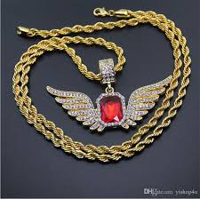 whole full cz iced out angel wings red ruby pendant necklace gold plated hip hop bling bling 30inch rope chian jewelry opal necklace handmade jewelry