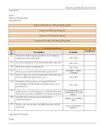 Training Feedback Form Format Excel Pdf Sample