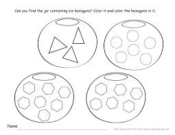 Hexagon shape activity sheets for school children