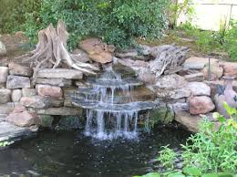 Lawn & Garden:Stunning Small Outdoor Stone Waterfall Ideas In Backyard With  Neutral Green Plant
