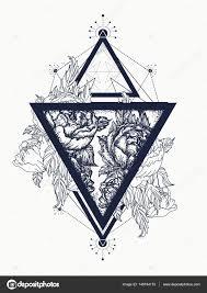 геометрическая роза тату розы в треугольник тату искусства символ