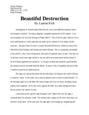 dra principles of acting cleveland state page  2 pages play review 1 beaut destruc