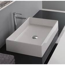 bathroom sink scarabeo 8031 60 rectangular white ceramic vessel sink