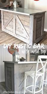 diy rustic bar.  Rustic DIY Rustic Bar Hacked From An Existing Cabinet Topped With Metal Diy Bar In Diy Rustic Bar