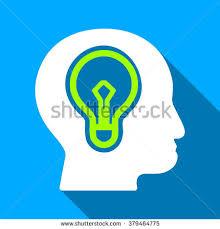 vector square blue icon lighting bulb. head idea bulb long shadow raster icon style is a flat light symbol with rounded vector square blue lighting o