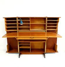 danish modern teak fold out desk mid century modern cabinet