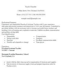 Assistant Teacher Resume Sample Elementary Teacher Resume Teaching ...