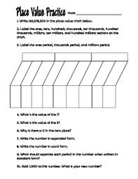 Place Value Chart 4th Grade Place Value Practice Worksheet 4th Grade