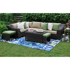 williams 8 piece all weather wicker patio sectional set with beige cushions